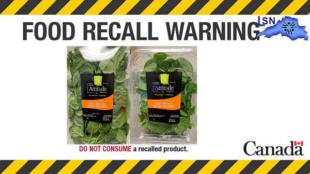 Food Recall Warning - Fresh Attitude brand Baby Spinach