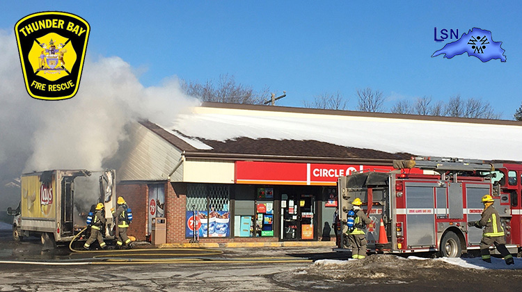 TBFR tackles a truck fire threatening commercial building