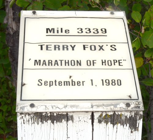 Monument to Terry Fox in Shuniah where he ended his run