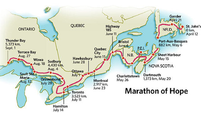 Terry Fox Map from St John's to Shuniah, Ontario   Lake Superior News