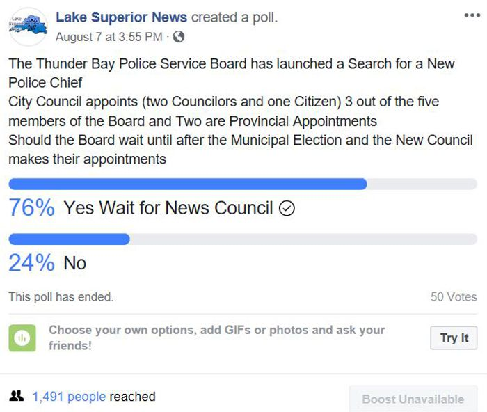 Thunder Bay Police Cheif Election