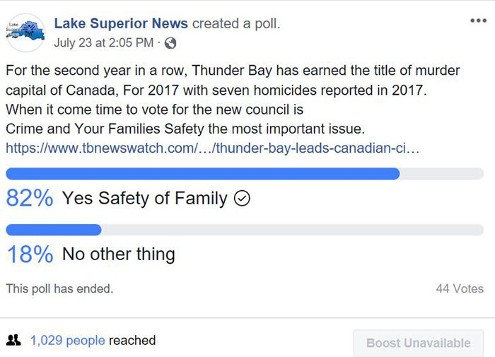 Thunder Bay Murder Capital of Canada Poll  Lake Superior News