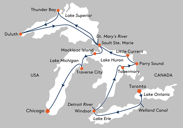 cruse Ship Route Toronto to Chicago  Lake Superior News