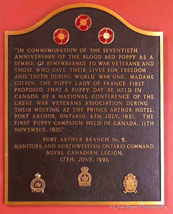 Plaque Commenorating the Poppy  Prince Arthur Hotel   Lake Superior News