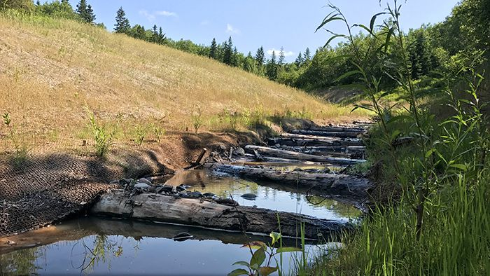 stacked logs  Deer Creek tributary  Lake Superior News